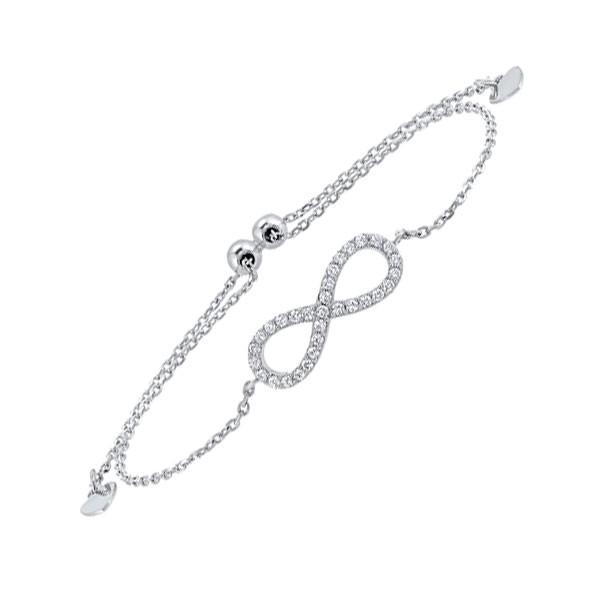 Diamond Infinity Symbol Heart Charm Bolo Bracelet In Sterling SIlver - Adjustable