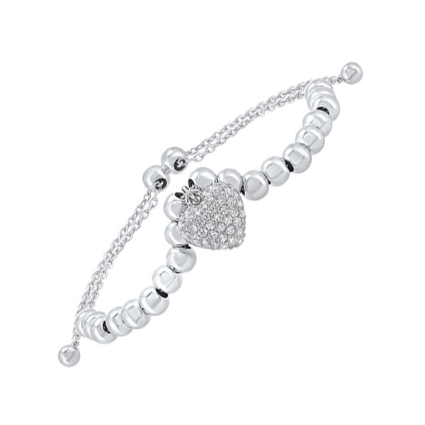Antique Style Bead CZ Bolo Bracelet In Sterling SIlver - Adjustable