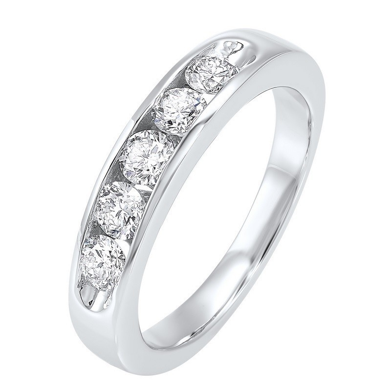 14K White Gold 5 Stone Channel Diamond Band (3/4 Ct. Tw.)