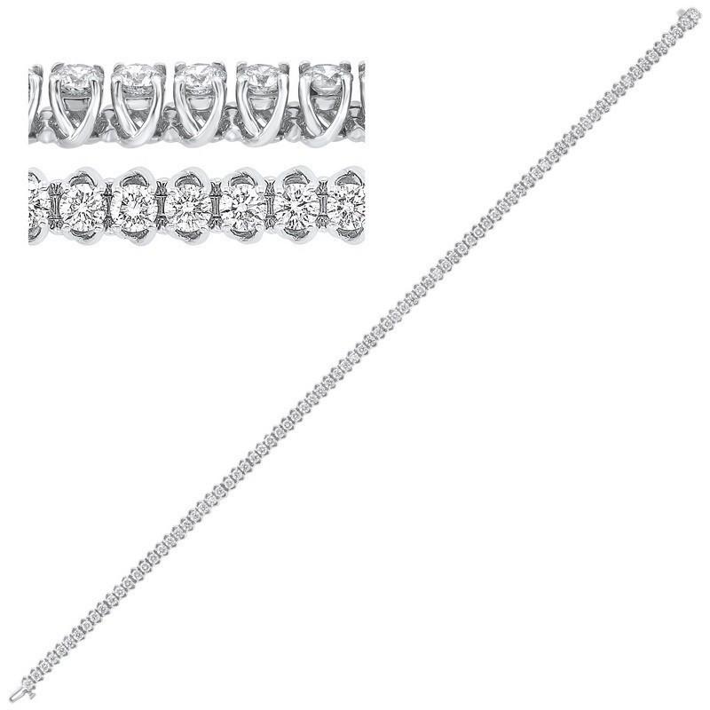 14K White Gold Prong Diamond Bracelet 3CT
