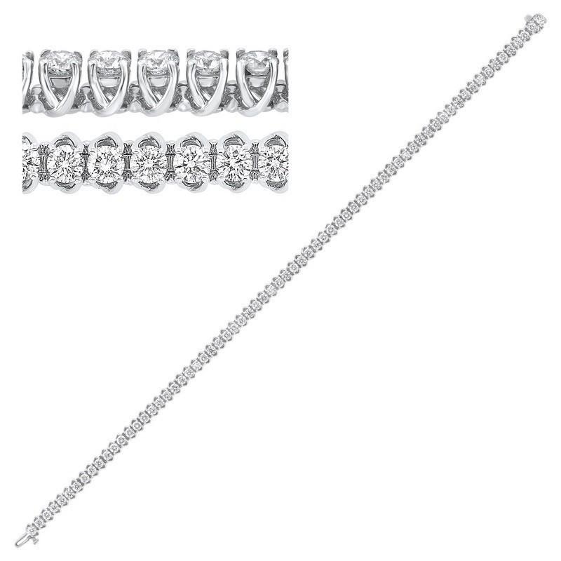 14K White Gold Prong Diamond Bracelet 4CT