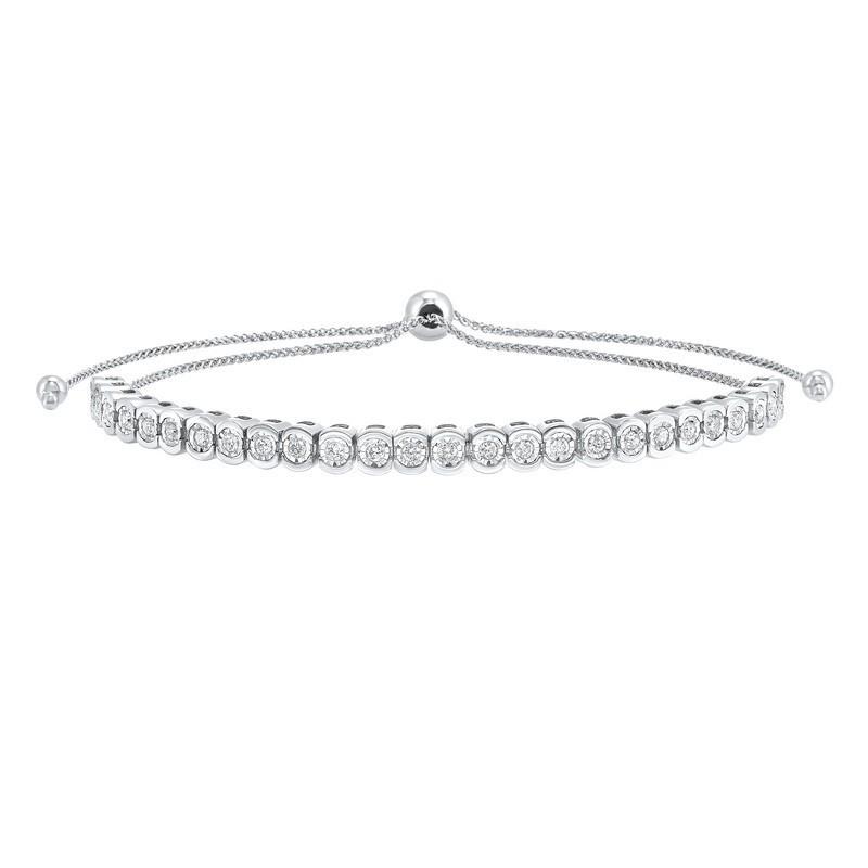 Bezel Set Bolo Diamond Bracelet In 10K White Gold (1/2 Ct. Tw.)
