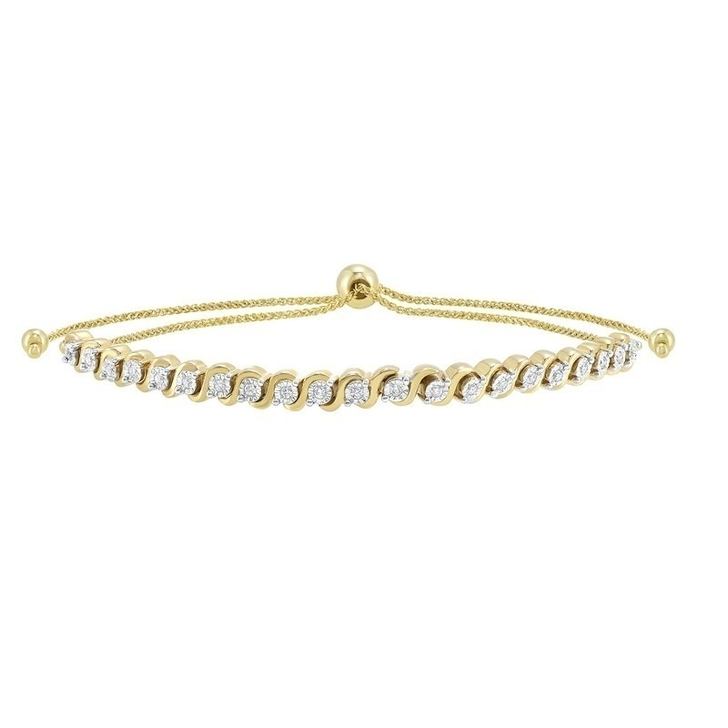 Prong Set Bolo Diamond Bracelet In 10K Yellow Gold (1/2 Ct. Tw.)
