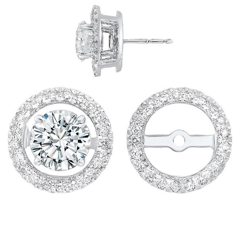 Diamond Earring Jackets In 14K White Gold (1/3 Ct. Tw.)