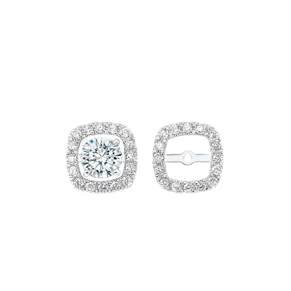 Micro Prong Diamond Halo Jacket Earrings In 14K White Gold (1/5 Ct. Tw.)