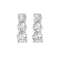 3 Stone Prong Set Diamond Earrings In 14K White Gold (1 Ct. Tw.)