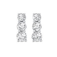 3 Row Channel Set Diamond Earrings In Sterling Silver (1/3 Ct. Tw.)