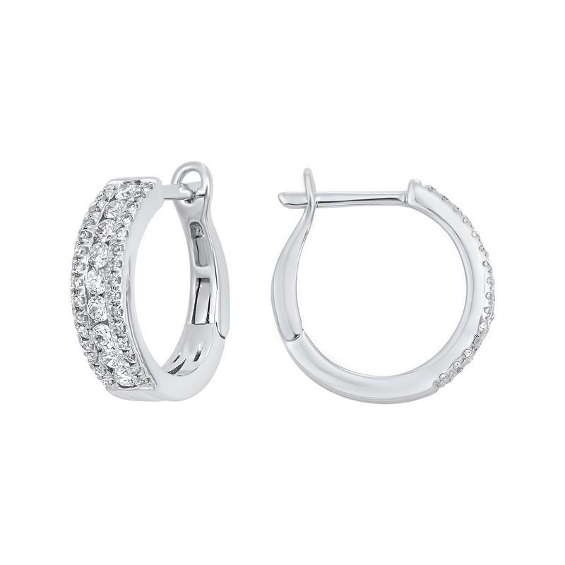 3 Row Channel Set Diamond Earrings In 14K White Gold (1/2 Ct. Tw.)