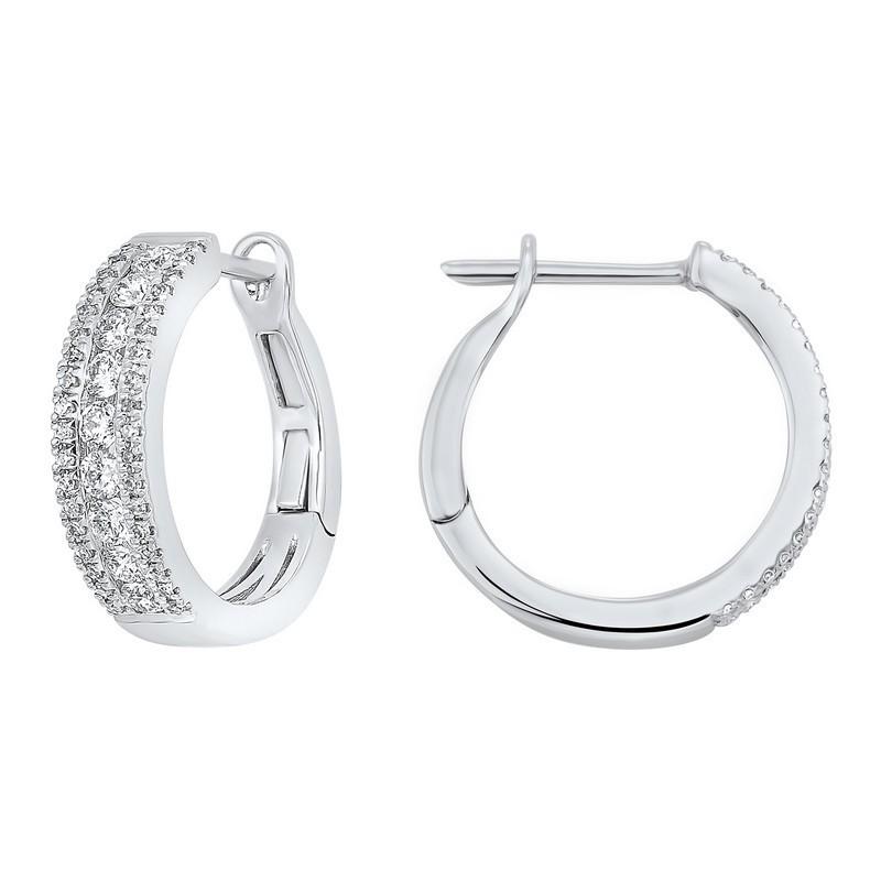3 Row Channel Set Diamond Earrings In 14K White Gold (3/4 Ct. Tw.)