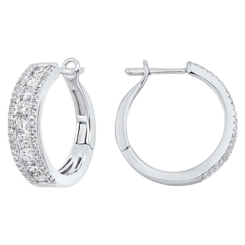 3 Row Channel Set Diamond Earrings In 14K White Gold (1 Ct. Tw.)
