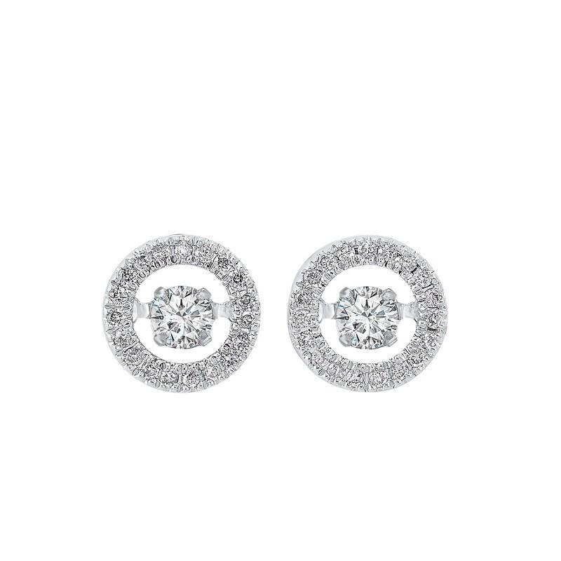 14K White Gold Rhythm Of Love Halo Prong Diamond Earrings 1/4CT