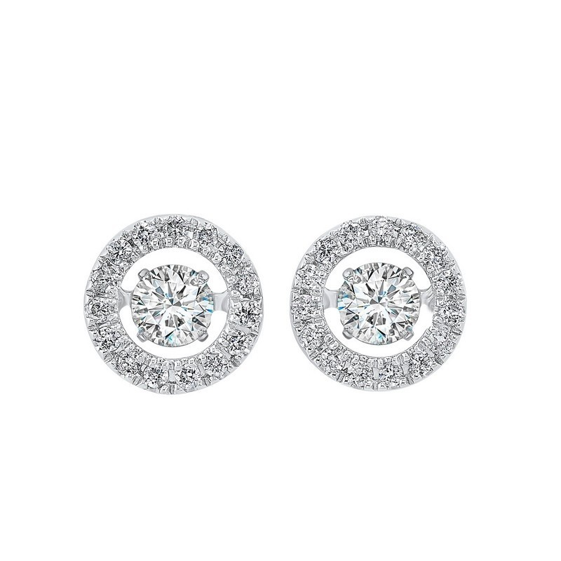 14K White Gold Rhythm Of Love Halo Prong Diamond Earrings (1/2 Ct. Tw.)