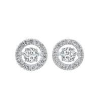 14K White Gold Rhythm Of Love Halo Prong Diamond Earrings (1/2 Ct. Tw.)