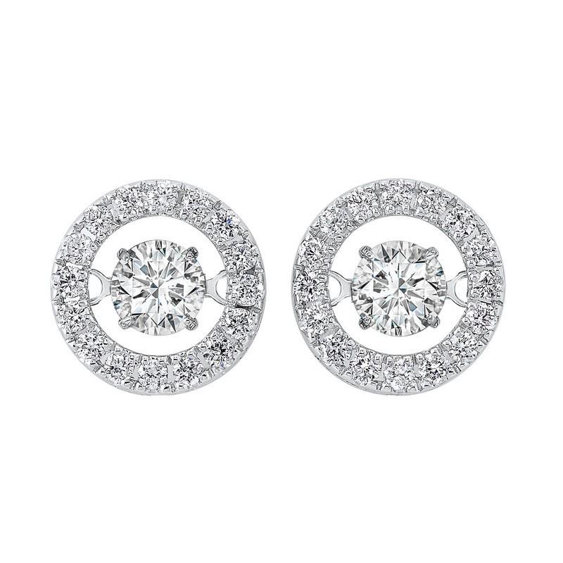 14K White Gold Rhythm Of Love Halo Prong Diamond Earrings (1 Ct. Tw.)