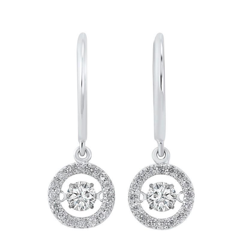 14K White Gold Rhythm Of Love Halo Prong Diamond Earrings 3/4CT