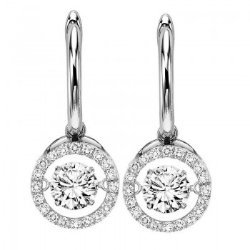 14K White Gold Rhythm Of Love Halo Prong Diamond Earrings (2 Ct. Tw.)