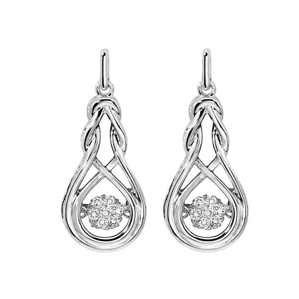 Diamond ROL Rhythm Of Life Love Knot Teardrop Dangle Earrings In Sterling Silver