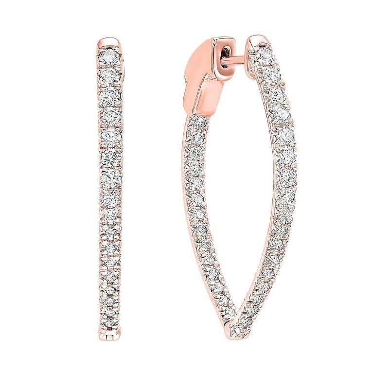In-Out Diamond Hoop Earrings In 14K Rose Gold (1 Ct. Tw.)