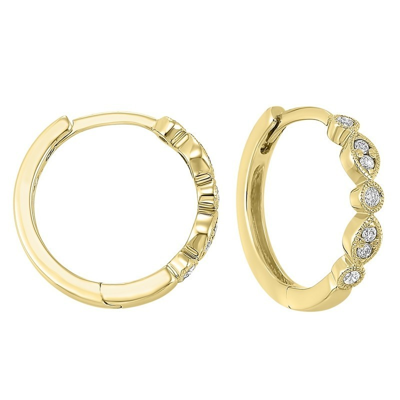 Geometric Diamond Earrings In 14K Yellow Gold (1/7 Ct. Tw.)