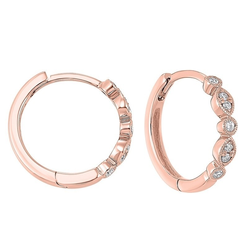 Geometric Diamond Earrings In 14K Rose Gold (1/7 Ct. Tw.)