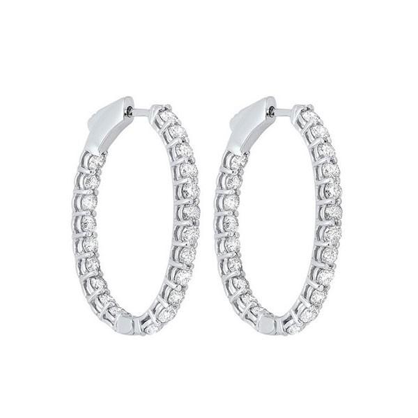 Diamond Inside Out Oval Hoop Earrings In 14k White Gold (1ctw)