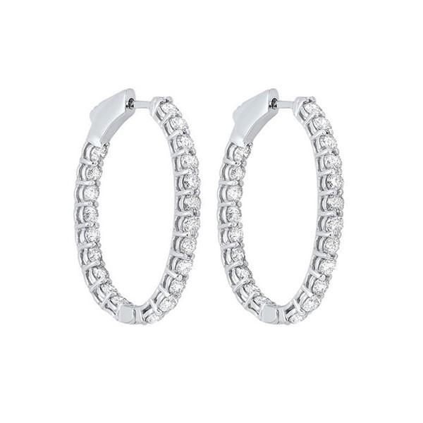 In-Out Diamond Hoop Earrings In 14K White Gold (3 Ct. Tw.) I2/I3 - H/K