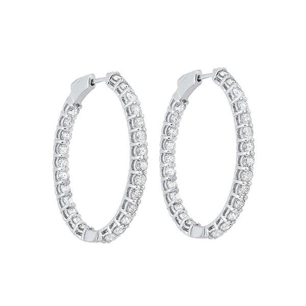 Diamond Inside Out Oval Hoop Earrings In 14k White Gold (5ctw)