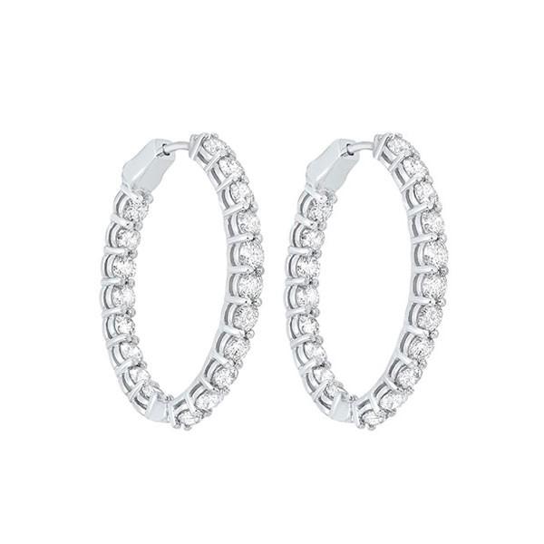 Diamond Inside Out Oval Hoop Earrings In 14k White Gold (7ctw)