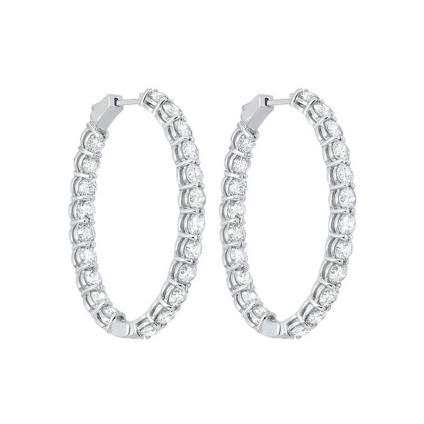 In-Out Diamond Hoop Earrings In 14K White Gold (10 Ct. Tw.) I2/I3 - H/K