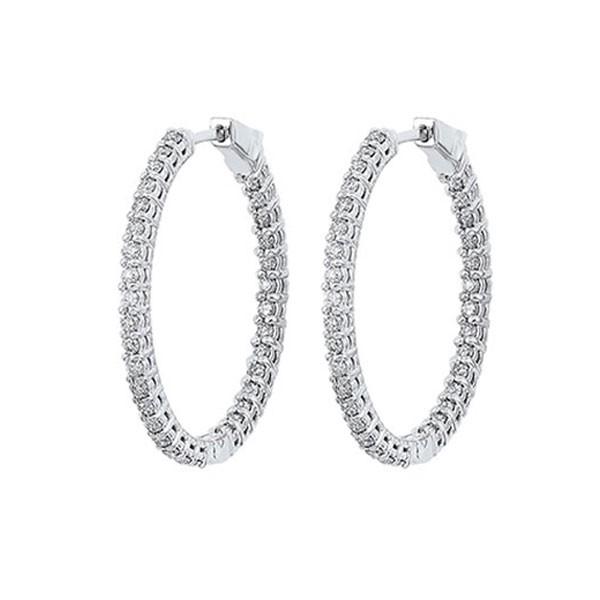In-Out Prong Set Diamond Hoop Earrings In 14K White Gold (1 Ct. Tw.) I2/I3 - H/K