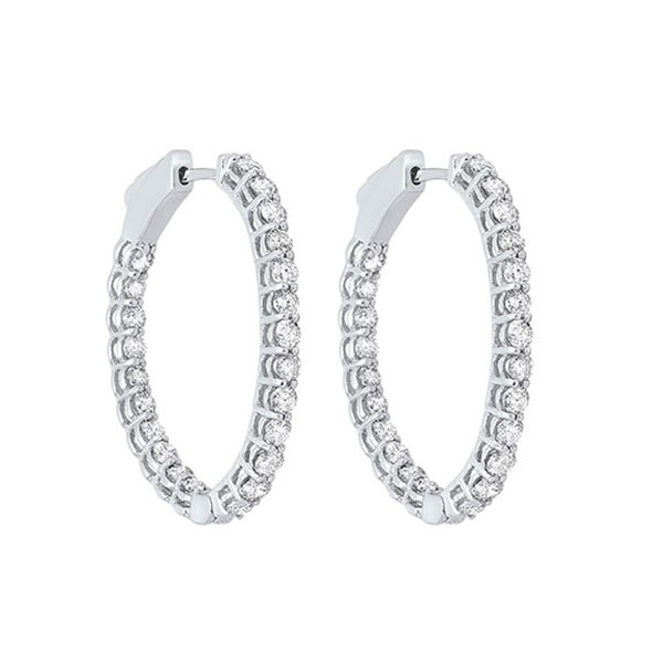 Diamond Inside Out Round 14k White Gold Hoop Earrings (2 Ctw)