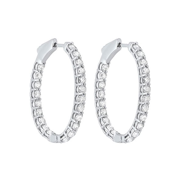 In-Out Prong Set Diamond Hoop Earrings In 14K White Gold (3 Ct. Tw.) I2/I3 - H/K