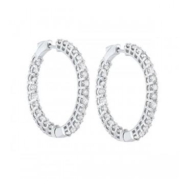 Diamond Inside Out Round 14k White Gold Hoop Earrings (5 Ctw)