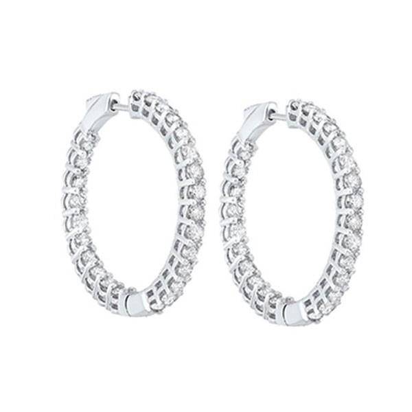 In-Out Prong Set Diamond Hoop Earrings In 14K White Gold (5 Ct. Tw.) I2/I3 - H/K