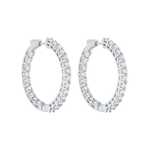 In-Out Prong Set Diamond Hoop Earrings In 14K White Gold (7 Ct. Tw.) I2/I3 - H/K