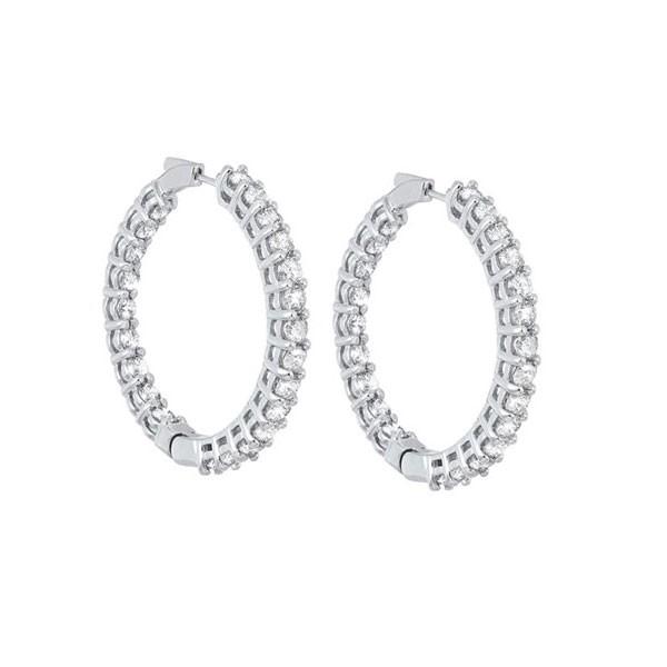In-Out Prong Set Diamond Hoop Earrings In 14K White Gold (10 Ct. Tw.) I2/I3 - H/K