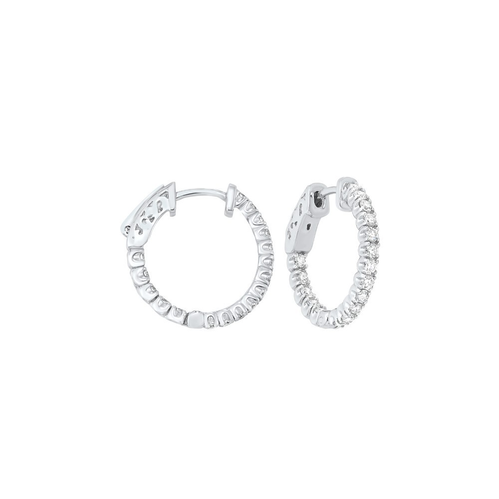 In-Out Prong Set Diamond Hoop Earrings In 14K White Gold  (1 Ct. Tw.) SI3 - G/H