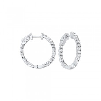 In-Out Prong Set Diamond Hoop Earrings In 14K White Gold  (1 1/2 Ct. Tw.) SI3 - G/H