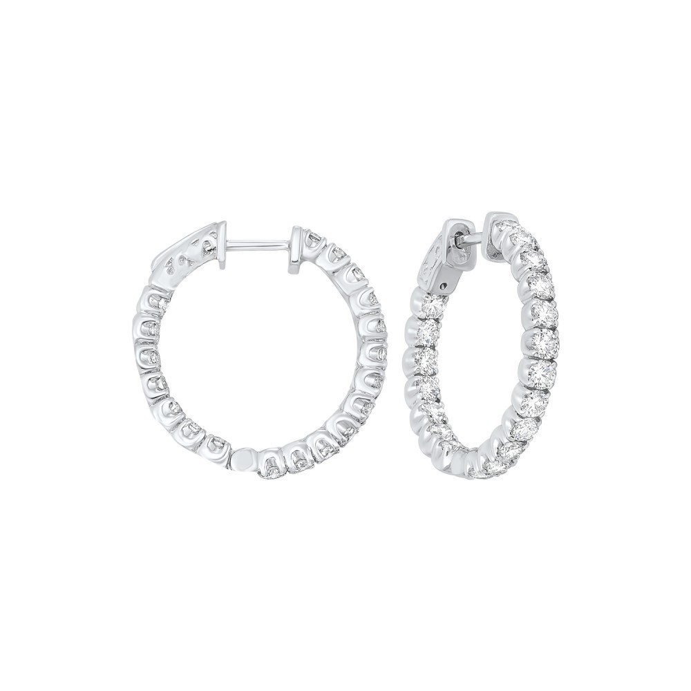 In-Out Prong Set Diamond Hoop Earrings In 14K White Gold  (3 Ct. Tw.) SI3 - G/H