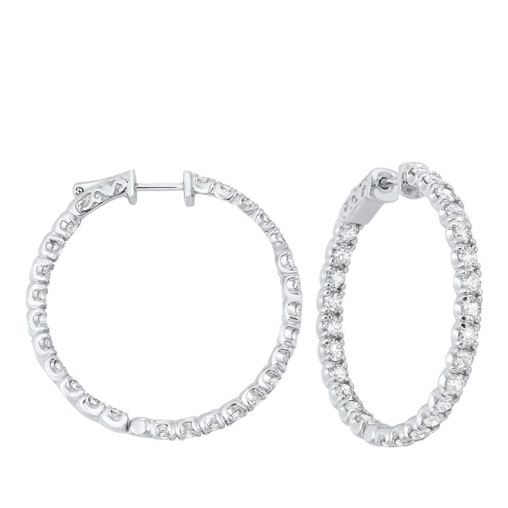 In-Out Prong Set Diamond Hoop Earrings In 14K White Gold  (5 Ct. Tw.) SI3 - G/H