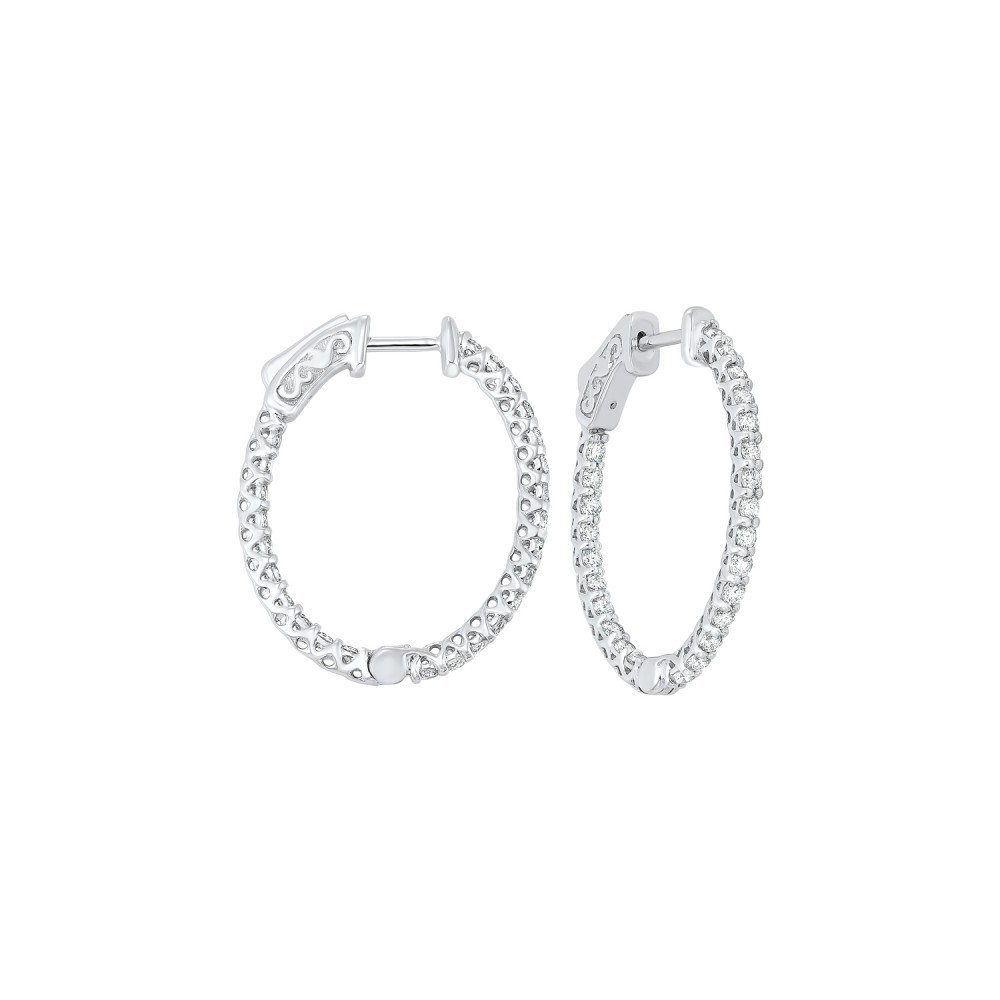 Delicate In-Out Diamond Hoop Earrings In 14K White Gold  (1 1/2 Ct. Tw.) SI3 - G/H