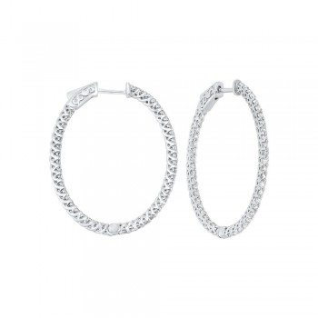 Delicate In-Out Diamond Hoop Earrings In 14K White Gold  (2 Ct. Tw.) SI3 - G/H