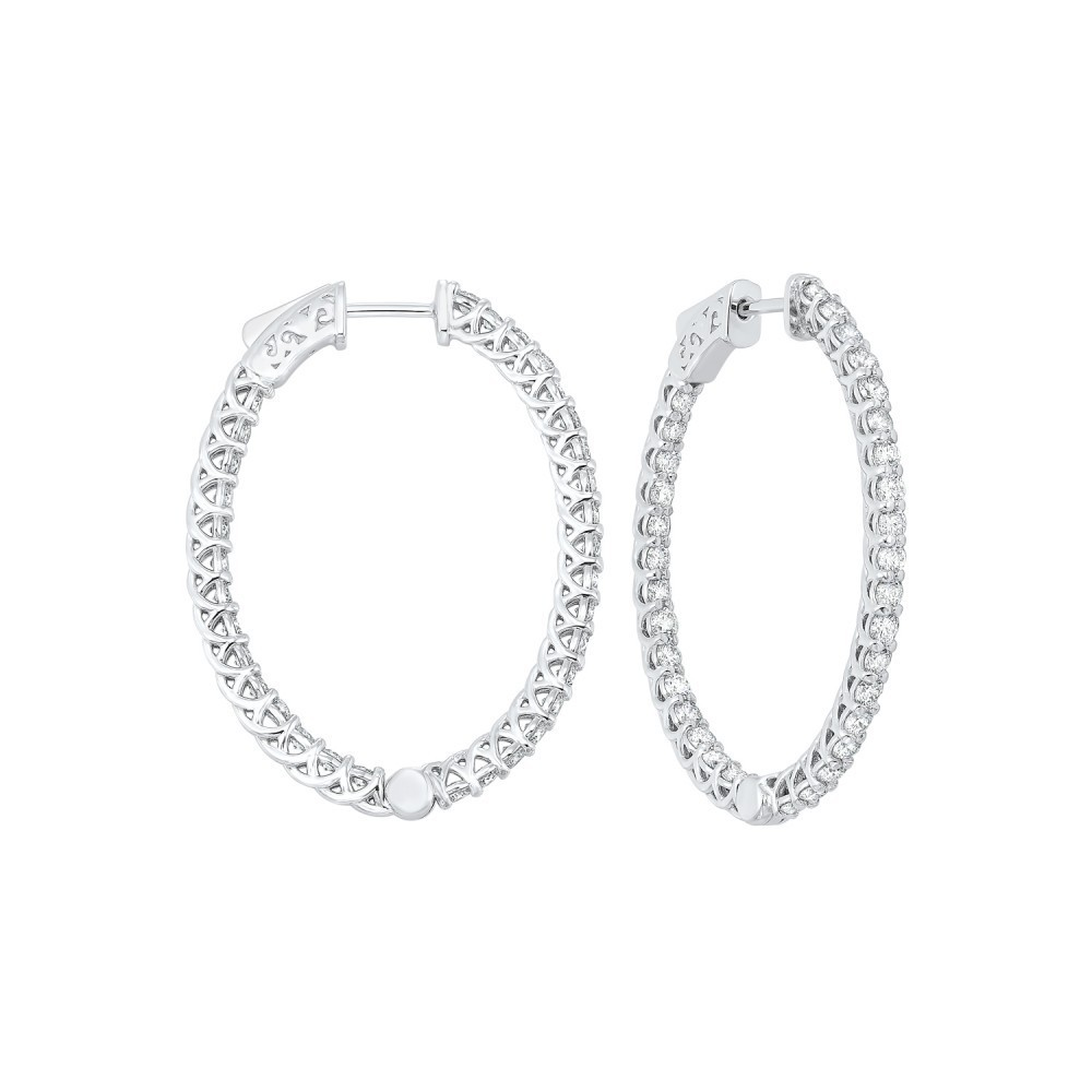 Delicate In-Out Diamond Hoop Earrings In 14K White Gold  (3 Ct. Tw.) SI3 - G/H