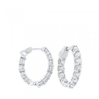 Prong Set Diamond Hoop Earrings In 14K White Gold (4 Ct. Tw.) SI3 - G/H
