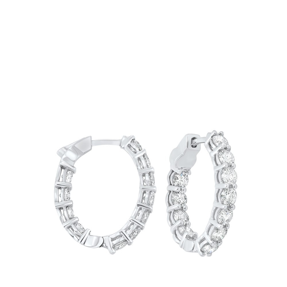 Prong Set Diamond Hoop Earrings In 14K White Gold (4 Ct. Tw.) SI3 - G/H