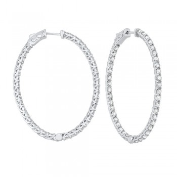 Delicate In-Out Diamond Hoop Earrings In 14K White Gold  (5 Ct. Tw.) SI3 - G/H