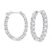 14K White Gold Prong Diamond Hoop Earrings (6 Ct. Tw.) SI3 - G/H