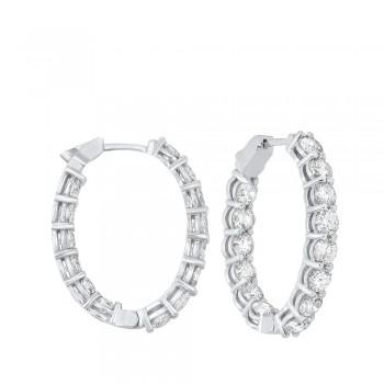 Prong Set Diamond Hoop Earrings In 14K White Gold (7 Ct. Tw.) SI3 - G/H