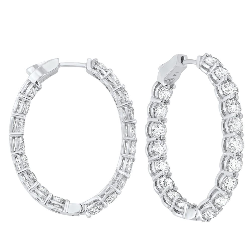 14K White Gold Prong Diamond Hoop Earrings (10 Ct. Tw.) SI3 - G/H