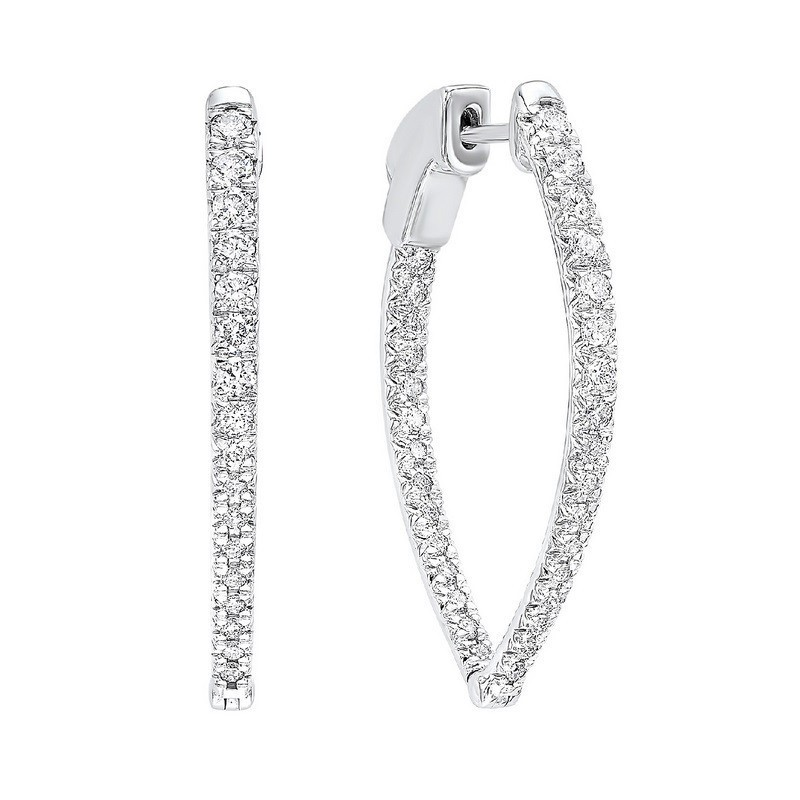 In-Out Diamond Hoop Earrings In 14K White Gold (1 Ct. Tw.) SI3 - G/H
